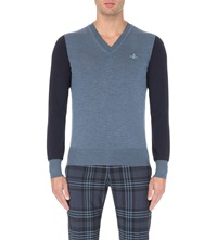 Vivienne Westwood V Neck Wool Jumper Navy Mix Blue