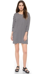 Just Female Eve Loose Dress Black White Stripe