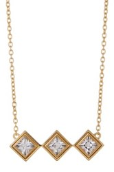 Elizabeth And James 24K Gold Plated Created White Sapphire Trutti Pendant Necklace Metallic
