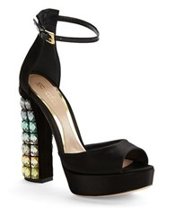 Sebastian Hologram Heeled Peep Toe Platform Sandals Black