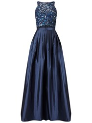 Adrianna Papell Racer Crop Top With Long Skirt Twilight