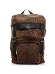 Saint Laurent Animal Print Canvas Backpack