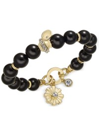 Charter Club Semi Precious Large Round Bead Crystal Enhanced Flower Charm Stretch Bracelet Only At Macy's Gold