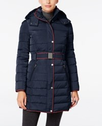 Tommy Hilfiger Contrast Trim Hooded Puffer Coat Navy