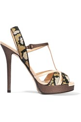 Fendi Zelda Sequin Embellished Lizard Effect Leather Sandals Nude