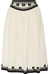 Suno Embroidered Cotton Skirt White