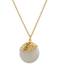 Lord And Taylor Moonstone Sterling Silver Pendant Necklace Gold