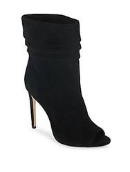 Halston Ruched Suede Open Toe Booties Black