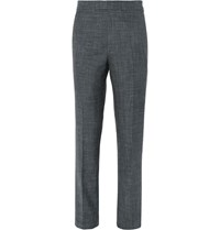 Kingsman Grey Harry Slim Fit Wool Silk And Linen Blend Suit Trousers Blue