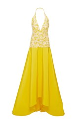 Naeem Khan Taffeta Halter Gown Yellow