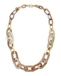 Alisha.D Long Marbled Acrylic Link Necklace Taupe Marble