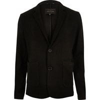 River Island Mens Black Knit Blazer