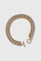 Topshop 3 Row Chain And T Bar Anklet Mixed Metal