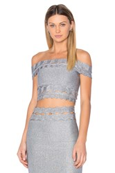 Lolitta Off The Shoulder Crop Top Metallic Silver