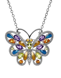 Lord And Taylor Semi Precious Multi Stone Sterling Silver Butterfly Pendant