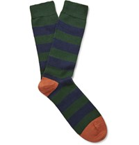 The Workers Club Striped Merino Wool Blend Socks Green