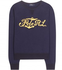 Polo Ralph Lauren Embroidered Cotton Sweater Blue