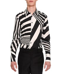 Alexander Mcqueen Stripe Patched Button Down Shirt Black White Size 48