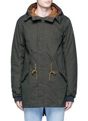 Scotch And Soda Fleece Lining Parka Coat Green
