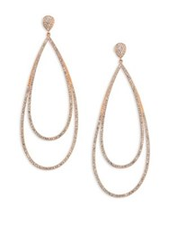 Adriana Orsini Rose Double Drop Earrings Rose Gold White