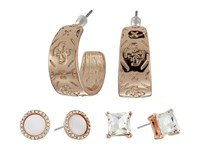 Guess Stone Disc And Etched Logo Hoop Trio Ear Earrings Set Rose Gold Crystal White Earring