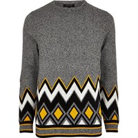 River Island Mens Grey Zig Zag Twist Jumper