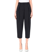 French Connection Giant Pinstriped Cropped Trousers Nocturnal