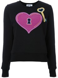Yazbukey Heart And Key Print Sweatshirt Black