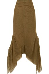 Rick Owens Smocked Tulle Playsuit Brown