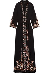 Vilshenko Beatrice Embroidered Crepe Maxi Dress Black