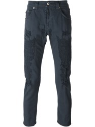Dondup Distressed Straight Leg Jeans Blue