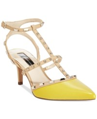 Inc International Concepts Carma Pointed Toe Studded Kitten Heel Pumps Only At Macy's Women's Shoes Chartreuse