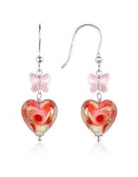 House Of Murano Vortice Pink Swirling Murano Glass Heart Earrings