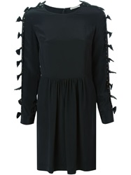 Emma Cook Bow Details Studded Flared Dress Black