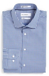 Calibrate Men's Big And Tall Trim Fit Non Iron Check Stretch Dress Shirt Blue Surf