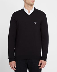 Armani Jeans Black Chest Logo V Neck Sweater