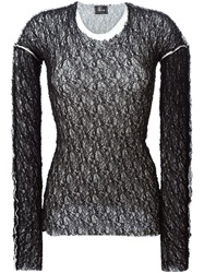 Lost And Found Layered Mesh Sweater Black