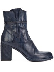 Officine Creative Tie Zip Ankle Boots Blue