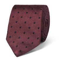 Dolce And Gabbana Polka Dot Embroidered Silk Tie Burgundy