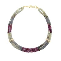 Dripping In Gems Paris Collection Double Strand Multi Colored Sapphire Necklace