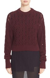 Public School Women's Cotton Blend Cable Knit Sweater Burgundy