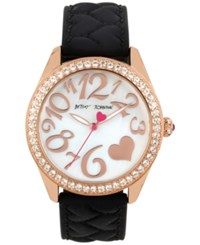 Betsey Johnson Women's Black Heart Textured Silicone Strap Watch 40Mm Bj00048 172 Rose Gold
