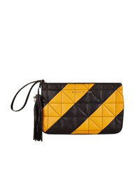 Sonia Rykiel Mustard Quilted Leather Zipped Pouch Multi