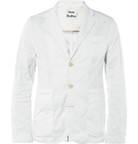 Acne Studios Slim Fit Crinkled Cotton Blend Blazer White
