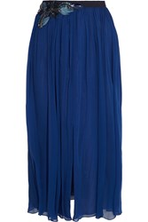 Matthew Williamson Embellished Silk Chiffon Midi Skirt Blue