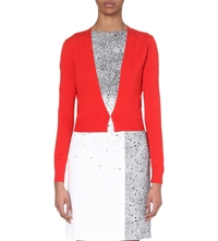 Hugo Boss Cropped Wool Cardigan Open Red