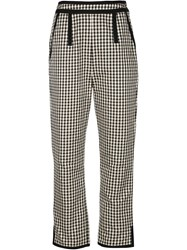 Isa Arfen Gingham Cropped Trousers Black