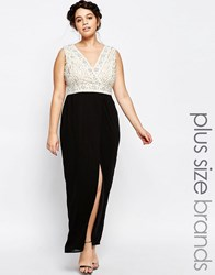 Lovedrobe Plunge Front Embellished Maxi Dress With Wrap Skirt Black