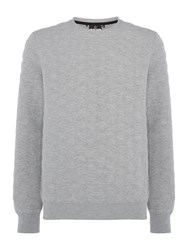 Duck And Cover Men's Crested Layer Insulated Crew Neck Sweat Grey