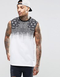 Asos Sleevelss T Shirt With Bandana Print And Dropped Armhole White